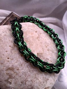 Unisex Chainmail Bracelet  Green and Black  by LittleCoveCreations, $22.00