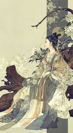 """ziseviolet:"""" """" 美人画""""Paintings of beauties in traditional Chinese hanfu, by Chinese artist 伊吹鸡腿子. Artist's Weibo: X. See more of her work here. Art Asiatique, China Art, Ancient China, Animes Wallpapers, Pretty Art, Japanese Art, Art Girl, Character Art, Fantasy Art"""