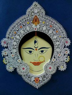 Devi Origami And Quilling, Quilling Cards, Paper Quilling, Quilling Ideas, Diy And Crafts, Arts And Crafts, Paper Crafts, Durga Images, Kali Goddess