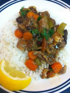 Moela (Portuguese Gizzard Stew) con arroz blanco. Perfecto!