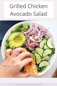 Avocado Salad Recipes, Easy Salads, Healthy Salad Recipes, Clean Recipes, Lunch Recipes, Whole Food Recipes, Vegetarian Recipes, Cooking Recipes, Grilling Recipes