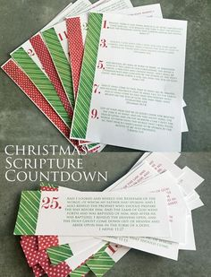 "Christmas Scripture Countdown Advent Calendar | would love to do w/ YW next year. They can make their own ""stockings"" in class activity. Maybe pass out to widows in ward. More"