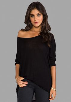 DAYDREAMER Dolman Tee with Fitted Sleeves in Black