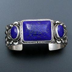 Darryl Becenti (Navajo) - Rectangle & Double Oval Lapis & Sterling Silver Cuff Bracelet #40392 $780.00