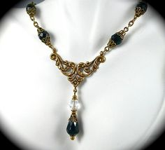 Bridal Jewelry Victorian | Wedding Jewelry SET, Victorian Black Crystal Necklace Earrings ...