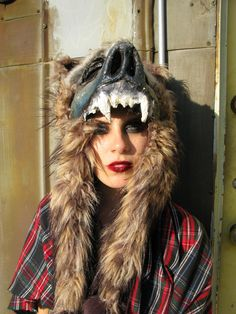 diy paper mache and repurposed faux fur. Full Face Wolf Mask Costume by SnarlApparel on Etsy, $300.00