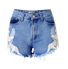 Women's Denim Crochet Lace Ripped Shorts