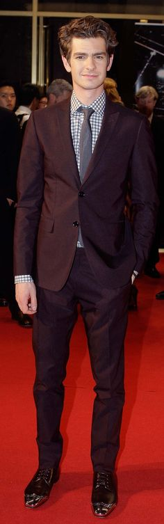 British actor Andrew Garfield wearing Burberry tailoring to 'The Amazing Spider-Man' premiere last night in South Korea