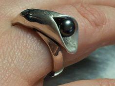 zilveren ring met zwarte zoetwaterparel