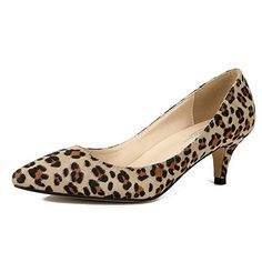 c72420c99d9 MAIERNISI JESSI Women s Classic Slip On Pointed Toe Kitten Heel Dress Pumps  Shoes Leopard 41 - US 9