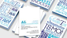 Business Cards with an assortment of random words in varying sizes and fonts in blue.