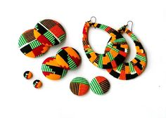 Button Fab - Traditional Green African Kente Print Fabric Buttons, Studs and Oversized Wrapped Hoops by TumbleGems on Etsy