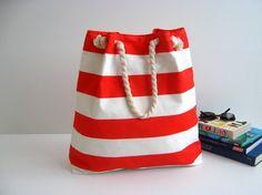 nautical stripe bag with rope handle