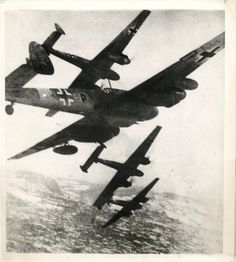 1944- German Luftwaffe ME-110 fighter planes in action against Allied bombers over Alps.