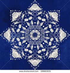 Vector background. Beautiful floral round pattern in chinese style. Imitation of chinese porcelain painting. Blue seamless watercolor background. Hand drawing.