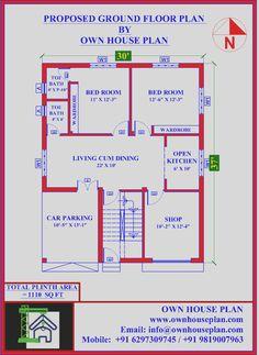 Single Floor House Design, Small House Floor Plans, Basement House Plans, Simple House Plans, Duplex House Design, Bedroom House Plans, 2bhk House Plan, Model House Plan, 40x60 House Plans
