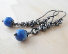 Lapis Lazuli Sterling Silver Earrings. Oxidized. by aroluna, $34.00
