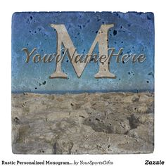 Shop Rustic Personalized Monogrammed Coasters, Lake Stone Coaster created by YourSportsGifts. Wedding Gifts For Bride And Groom, Rustic Wedding Gifts, Rustic Coasters, Stone Coasters, Masculine Home Decor, Monogram Pillows, Selling Design, Man Cave Gifts, Bedroom Accessories