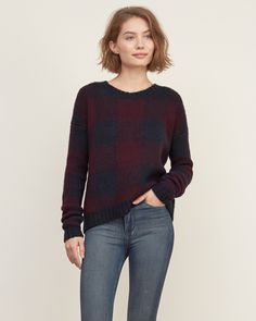 Womens Patterned Rib-trim Sweater | Bold and beautiful featuring all-over pattern, ribbed trims and subtle texture, Easy Fit | Abercrombie.com