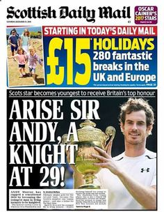 Andy Murray knighted in the New Years honours. 2016.