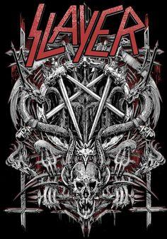 Slayer rock music poster skull psychedelic  -  ☮~ღ~*~*✿⊱╮ レ o √ 乇 !!