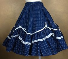 Square Dance Skirt Partners Please Malco Modes Navy Blue w White Polka Dots Trim #MalcoModes
