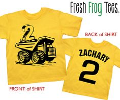 Construction Birthday Shirt personalized dump by FreshFrogTees