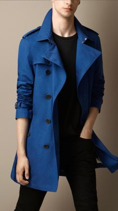 mens royal blue cotton trench coat - Google Search