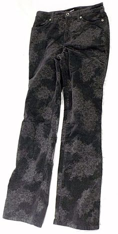 Cambio Jeans Jade Fine Wale Corduroy Black & Gray Floral Print Stretch Size…