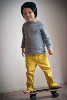 Knit Beanie Knitted Black Toddler Hat Cozy // Warm by SweetKiddoCo. Love the Gray shirt and bright yellow pants!