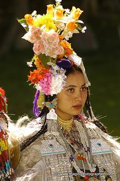 Beautiful young woman from Dard or Drogpa Aryan tribe from Dha Hanu village in Ladakh India