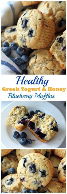 Healthy Greek Yogurt and Honey Blueberry Muffins