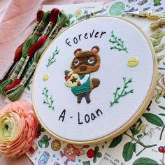 Tom Nook from Nintendo's Animal Crossing 🍃🍃🧵 : Embroidery Embroidery Art, Cross Stitch Embroidery, Embroidery Patterns, Cross Stitch Patterns, Animal Crossing Qr, Ac New Leaf, Cross Stitching, Sewing Projects, At Least