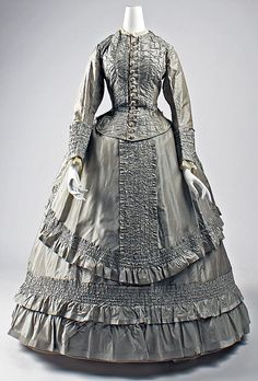 Ensemble  Date: ca. 1869 Culture: American Medium: silk Dimensions: Length at CB (a): 20 1/2 in. (52.1 cm) Length at CB (b): 40 1/2 in. (102.9 cm) Length at CB (c): 44 1/2 in. (113 cm)