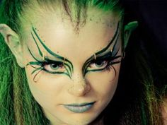 Get green water-soluble body make-up ($6.95) from Broadway Costumes and coat your skin with it. It dries quickly, is easy to remove and doesn't look at all like paint; your skin actually glows through the color.