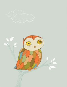 Could not be any colorfully cuter: Owl Print  Daytime by courtneyoquist on Etsy, $15.00