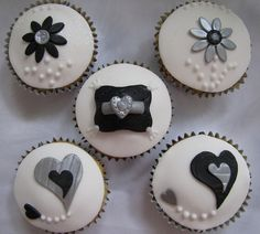 silver cupcakes | Black, silver and white engagement cupcakes