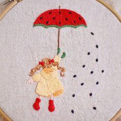 * . スイカの傘 . . #刺繍#手刺繍#ステッチ#手芸#embroidery#handembroidery#stitching#needlework#자수#broderie#bordado#вишивка#stickerei