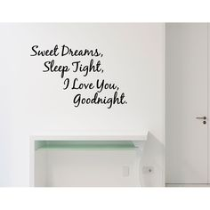 Sweet Dreams Sleep Tight quote Wall Art Sticker Decal