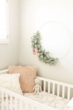 Floral Gold Hoop Wreath - Soft Pinks & Peach Dahlias and roses w/ soft greenery