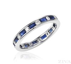 Blue Sapphire & Diamond Eternity Band in Channel Setting. baguette sapphires & round diamonds quality) in channel setting. Ring is wide. Eternity Ring Diamond, Eternity Bands, Diamond Wedding Bands, Diamond Rings, Diamond Cuts, Sapphire Gemstone, Sapphire Diamond, Gemstone Rings, Wedding Anniversary Rings