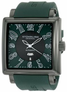 Stuhrling Original Men's 149CXL.3356D5 Leisure Manchester Ozzie Grand Automatic Green Dial Watch Stuhrling Original. $109.00. Water-resistant to 165 feet (50 M). Green outer dial with black arabic numerals. Black center guilloche design dial with day and date complication. Green rubber strap with black PVD buckle. Black PVD square shaped case with step design bezel and protective Krysterna crystal on front and back