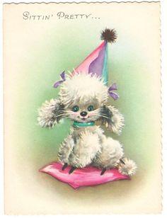 Vintage Greeting Card Poodle