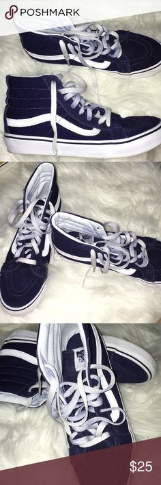 62ea1a5eeefb68 Navy blue vans Navy blue high top vans (6.5 in men) Vans Shoes Sneakers