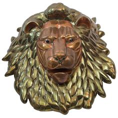 1980's Lion Head by Sergio Bustamante | From a unique collection of antique and modern wall-mounted sculptures at https://www.1stdibs.com/furniture/wall-decorations/wall-mounted-sculptures/