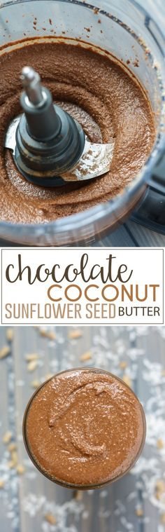 A creamy blend of sunflower seeds, shredded coconut, and cacao powder, this homemade Chocolate Coconut Sunflower Seed Butter is great on toast, in smoothies, on top of yogurt, or just straight from the jar. It's also perfect for baking!