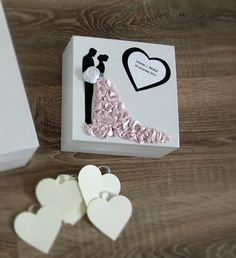 Alternative Wedding Guest book box with hearts by HandMadeowo, zł85.00