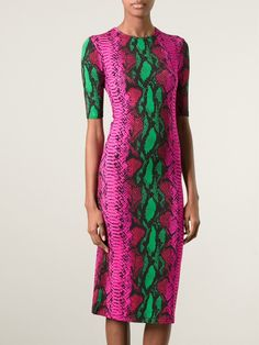 Pink and green snake print dress