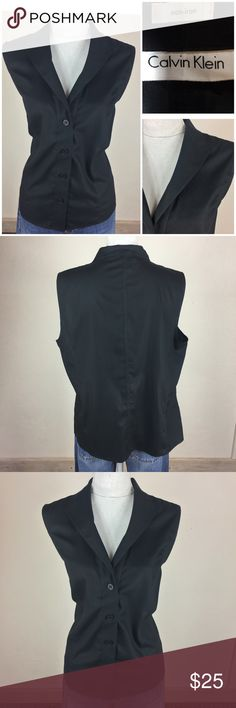 3e46b32054e290 Calvin Klein Sz 16 Black Button Down Cotton Excellent used condition Size  16 100% Cotton