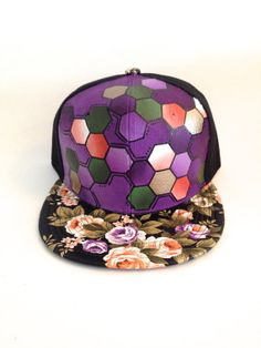 Purple Floral Snap Back  Hand Painted Flat Brim by StarSeventeen, $44.00